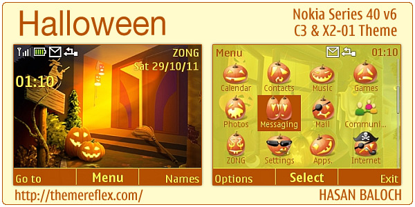 Halloween theme for nokia c3 00 amp x2 01 themereflex