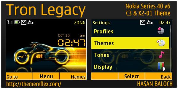Tron Legacy theme for Nokia C3 & X2-01 – ThemeReflex