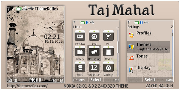 Taj mahal theme for nokia x2 c2 01 240 320 themereflex - Taj mahal screensaver free download ...