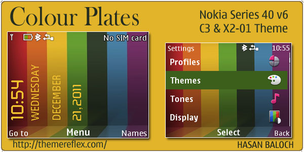 Colour plates theme for nokia c3 x2 01 amp asha 200 201 themereflex