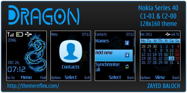 Dragon theme for Nokia C1-01 & C2-00