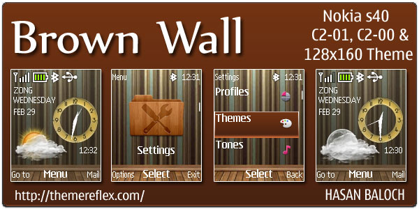 Brown Wall Live theme for Nokia C1-01 & C2-00