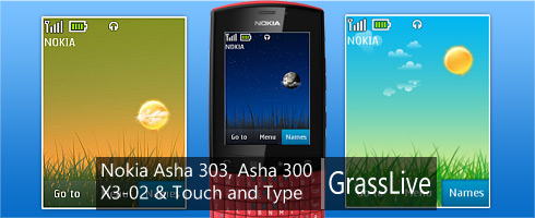 Grass Live Nokia Asha 303, X3-02 & Touch and Type theme