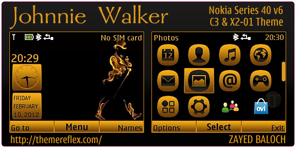 Johnnie Walker theme for Nokia C3, X2-01 and Asha 200 & 201