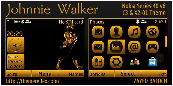 Johnnie Walker theme for Nokia C3, X2-01 and Asha 200 & 201