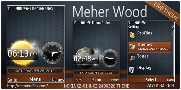 Meher Wood live theme for Nokia X2-00, C2-01 & 240×320