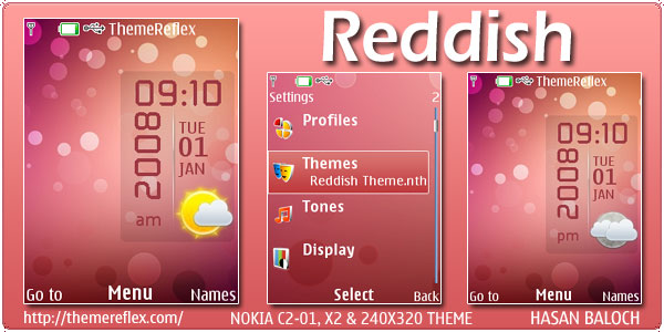Reddish Live Theme for Nokia X2, C2-01 & 240×320