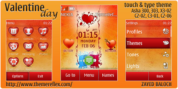 Valentine Day theme for Nokia Asha 303, 300, X3-02 and Touch & Type