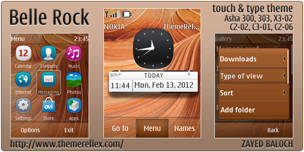 Belle Rock theme for Nokia Asha 303, Asha 300, X3-02 and Touch & Type