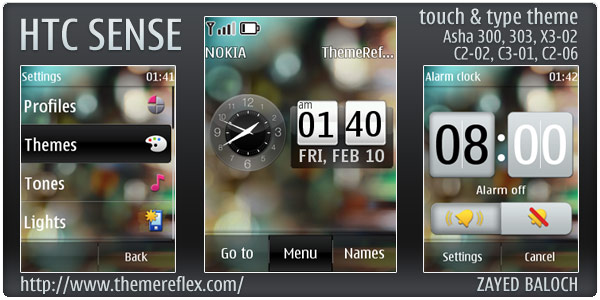 HTC Sense theme for Nokia Asha 303, 300, X3-02 and Touch & Type