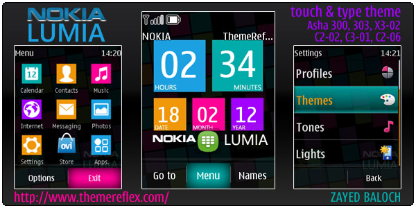 the nokia lumia theme for nokia series 40 but this time only for