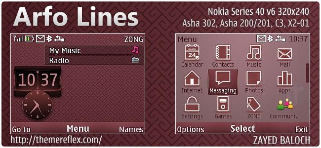 Arfo Lines theme for Nokia Asha 302, C3-00, X2-01 & 320×240