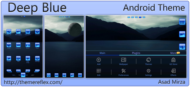 Deep Blue theme for Samsung Galaxy Note, HTC, Android devices