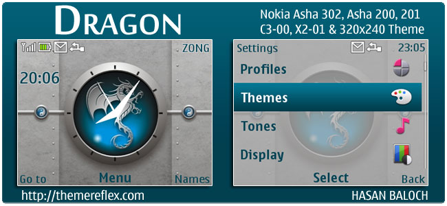 Dragon Theme for Nokia C3, X2-01 & Asha 200, 201 & 302