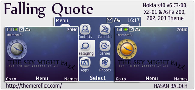 Falling Quote Live theme for Nokia C3, X2-01 & Asha 200,201,203