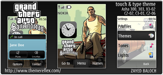 GTA San Andreas theme for Nokia Asha 303/303, X3-02 and Touch & Type