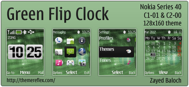 Green Flip Clock theme for Nokia C1-01, C2-00 & 128×160