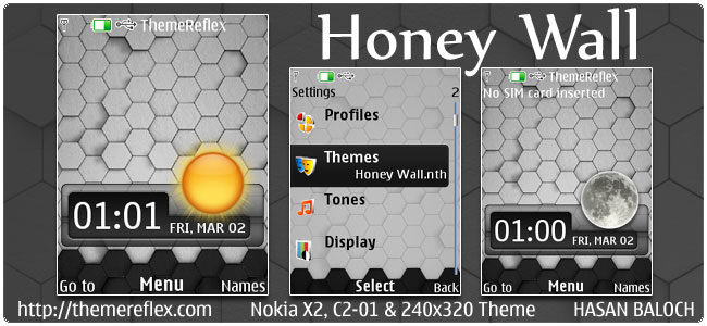Honey Wall Live theme for Nokia X2, C2-01 & 240×320