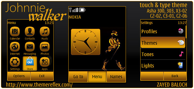Johnnie Walker theme for Nokia Asha 300/303, Asha 202 /203, X3-02 ...
