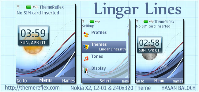 Linger Lines Live Theme for Nokia X2, C2-01 & 240×320