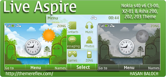 Live Aspire Theme for Nokia C3, X2-01 & Asha 200,201,302