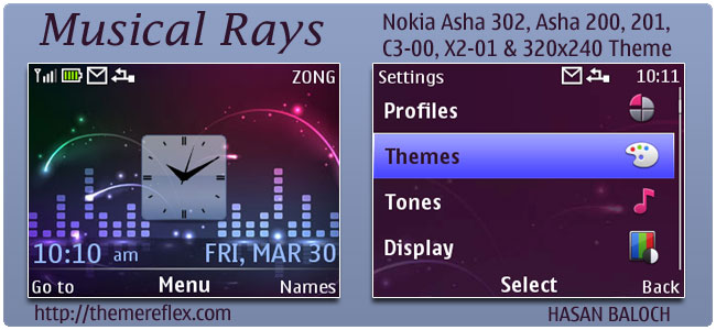 Musical Rays Theme for Nokia C3,X2-01 & Asha 200,201,302