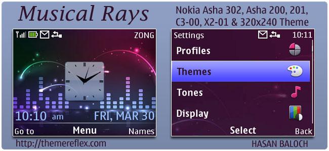 Musical Rays Theme for Nokia C3,X2-01 & Asha 200,201,302