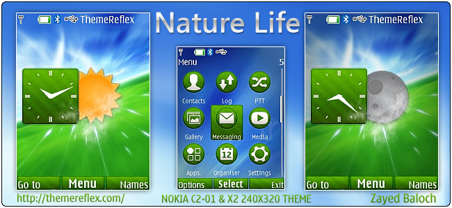 Nature Life live theme for Nokia X2, C2-01 & 240×320