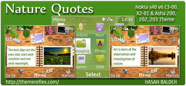 Nature Quotes theme for Nokia C3, X2-01 & Asha 200,201,302