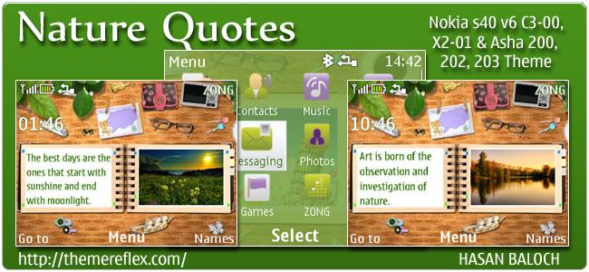 Nature Quotes theme for Nokia C3, X2-01 & Asha 200,201,302