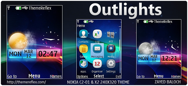 Outlights live theme for Nokia X2-00, C2-01 & 240×320