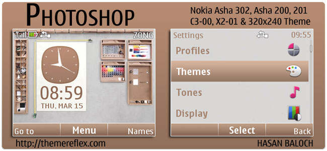 Photoshop Theme for Nokia C3, X2-01 & Asha 200, 201/302