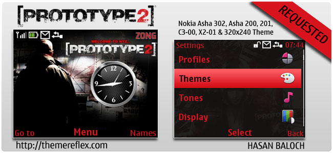 Prototype 2 Theme for Nokia C3, X2-01 & Asha 200, 201, 302