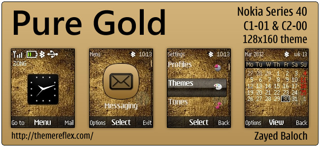 Pure Gold theme for Nokia C1-01, C2-00 & 128×160
