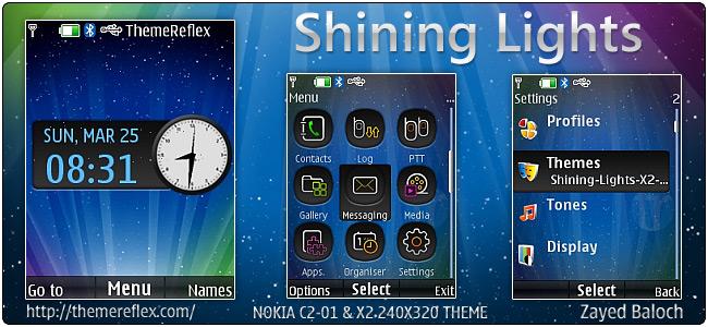 Shining Lights theme for Nokia X2-00, C2-01 & 240×320