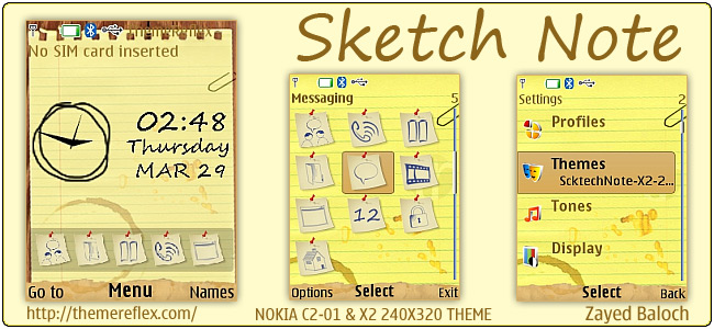 Sketch Note theme for Nokia X2-00, C2-01 & 240×320 – ThemeReflex