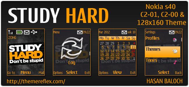 Study Hard theme for Nokia C1-01, C2-00 & 2690