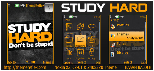 Study Hard Theme for Nokia X2,C2-01 & 240×320