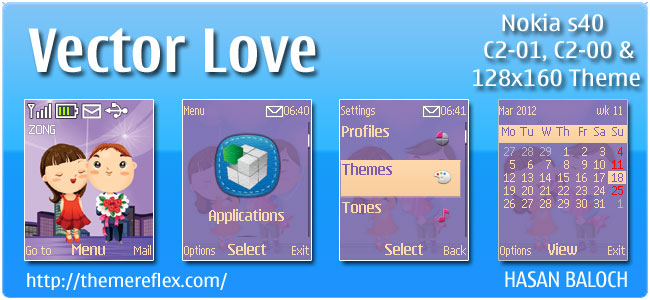Vector Love Theme for Nokia C1-01, C2-00 & 2690