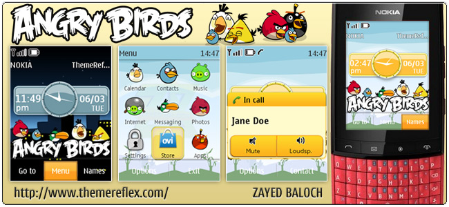 Angry Birds live theme for Nokia Asha 303/300, X3-02 and Touch & Type