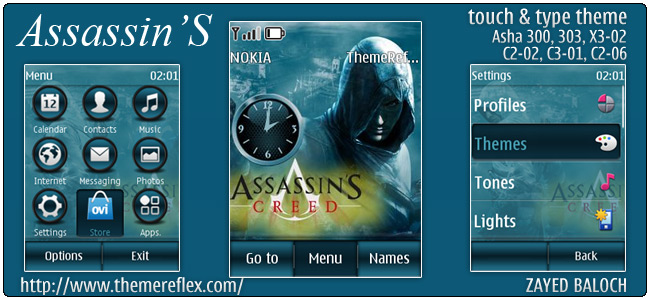 Assassins theme for Nokia Asha 303/300, X3-02 and Touch & Type