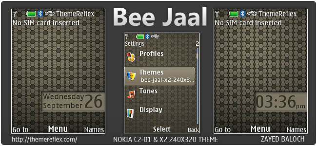 Bee Jaal theme for Nokia X2-00, C2-01 & 240×320