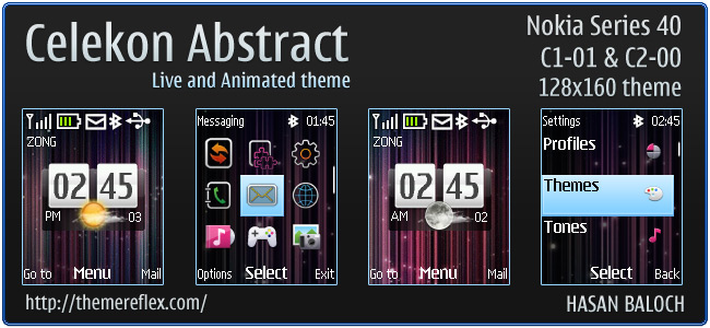 Celekon Abstract live & animated theme for C1-01, C2-00 & 128×160