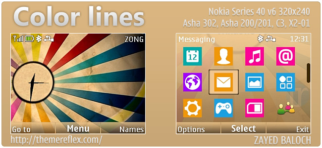 Color Lines theme for Asha 302, C3-00, X2-01 & 320×240
