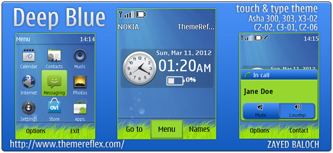 Deep Blue theme for Nokia Asha 303/303, X3-02 and Touch & Type