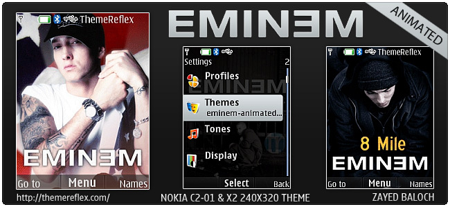 Eminem animated theme for Nokia X2, C2-01 & 240×320