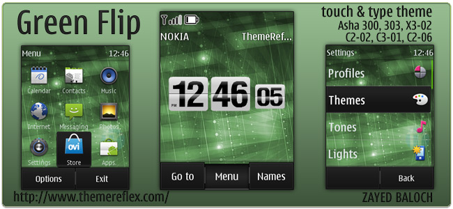 Green Flip Clock theme for Nokia Touch & Type devices