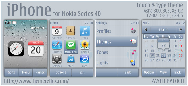 iPhone theme for Nokia Asha 303, 300, X3-02 and Touch & Type