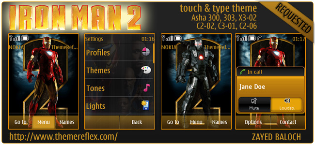 Iron Man 2 theme for Nokia Asha 303/300, X3-02 and Touch & Type