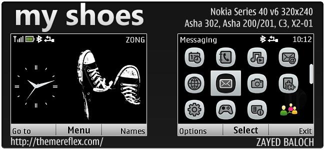 My Shoes theme for Nokia Asha 302, C3-00, X2-01 & 320×240